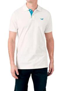 Camisa Polo Hollister Clássica Masculina - Masculino-Branco