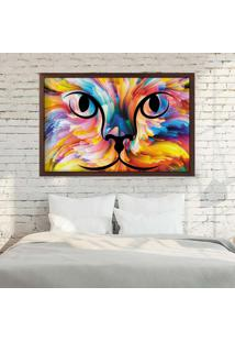 Quadro Love Decor Com Moldura Color Cat Madeira Escura - Médio