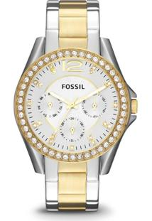 Relógio Fossil Riley - Es3204/5Bn Dourado/Prata