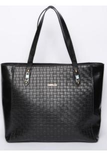 Bolsa Texturizada Com Detalhes Metalizados - Preta -Griffazzi