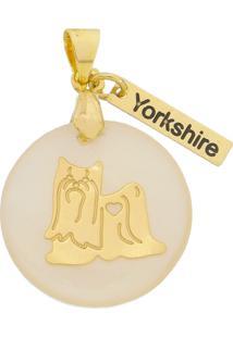Pingente Drusi Semi Joias Dog Yorkshire Folheado Em Ouro 18K
