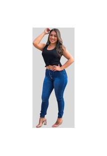 Calça Jogger Feminina Fec Fashion Jeans Azul Escuro