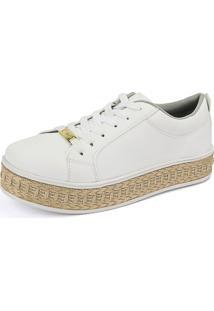 Tênis Plataforma Flatform Cr Shoes 4034L Branco / Palha