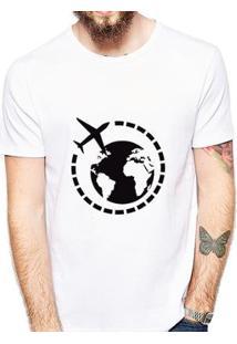 Camiseta Coolest Avião Mundo Masculina - Masculino-Branco