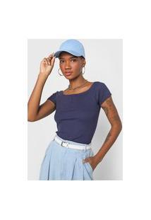 Blusa Fiveblu Canelada Azul-Marinho