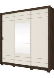 Guarda Roupa Casal 3 Espelho 3 Portas De Correr Avenida Henn Café/Off White