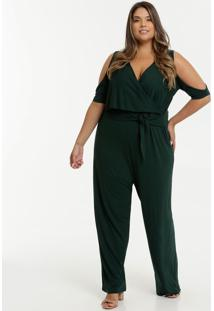 Macacão Feminino Pantalona Open Shoulder Plus Size
