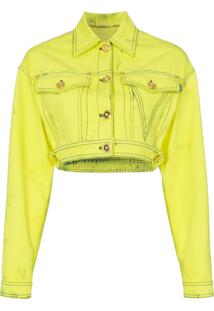 Versace Jaqueta Jeans Cropped - Amarelo