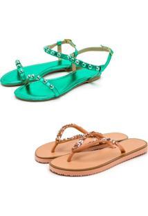Kit 2 Pares Chinelo Sandália Rasteira Feminina Conforto Fashion Verde E Rosê