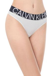 Calcinha Calvin Klein Underwear Fio Dental Statement Branca