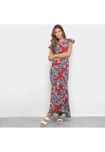 Vestido Longo Top Moda Manga Curta Estampado - Feminino-Marinho+Vermelho