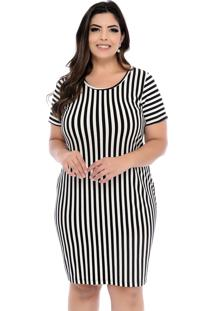 Vestido Arimath Plus Plus Size Listrado Em Branco E Preto-54