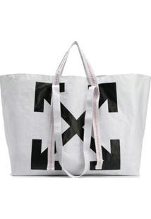 Off-White Bolsa Tote Com Logo 'Diagonal Arrows' - Branco