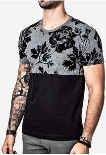Camiseta Meio A Meio Eco Preto Floral 100194