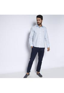 Camisa Slim Fit Com Bordado - Azul Claro & Azul Marinho