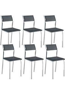 Cadeira 1709 Cromada 06 Unidades Jeans Carraro