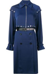 Karl Lagerfeld Trench Coat Transformer Com Pregas - Azul
