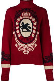 Etro Suéter Com Contraste - Vermelho