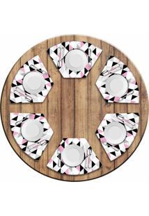 Jogo Americano - Love Decor Para Mesa Redonda Triângulos Rosa Kit Com 6 Peças - Kanui