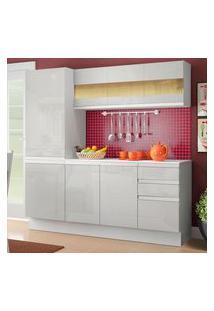 Cozinha Compacta 100% Mdf Madesa Smart 170 Cm Modulada Com Armário, Balcão E Tampo Frentes Branco Brilho Branco
