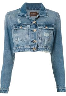 Bo.Bô Jaqueta Cropped Jeans - Azul