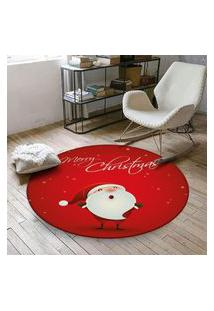 Tapete De Natal Redondo Feliz Natal Com Papai Noel 84Cm