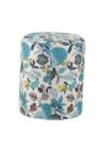 Puff Redondo Round Jacguard Floral Azul Ii