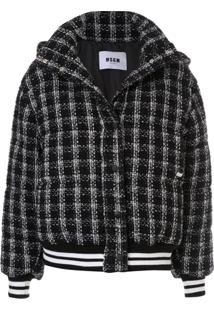 Msgm Check Padded Bomber Jacket - Preto