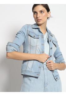 Casaco Jeans Com Bolsos- Azul Claroenna