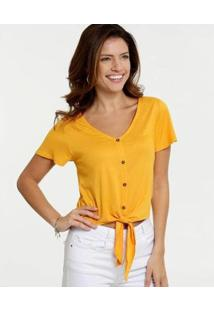 Blusa Marisa Cropped Amarração Botões Feminina - Feminino-Amarelo