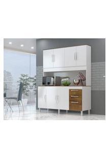 Cozinha Compacta Gemeos 1,44M 7 Portas 3 Gav. Branco Castanho