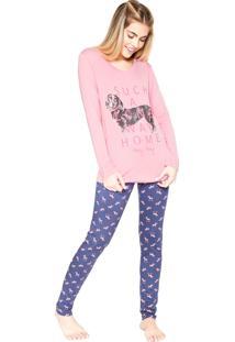 Pijama Any Any Salsichinha Rosa/Azul