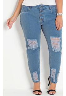 Calça Jeans Claro Boyfriend Com Rasgos Plus Size