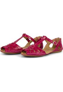 Sandalia Rasteirinha Conforto Em Couro 710 Pink