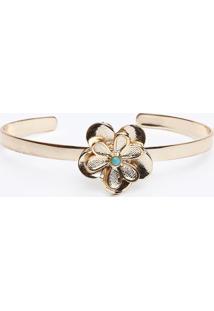 Bracelete Metalizado Com Flor- Dourado & Azul Claro-Gregory