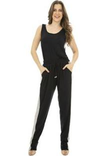 Calça Faixas Catwalk Plus Size Feminina - Feminino-Preto