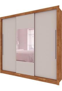 Guarda-Roupa Casal Com Espelho Genebra Flex 3 Pt 4 Gv Ipê Rústico E Off White