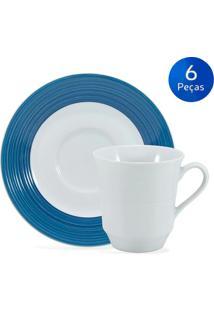 Conjunto 6 Xícaras De Chá Com Pires Saturno Borda Azul - Schmidt - Branco / Azul