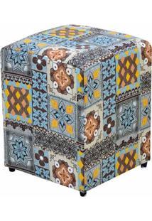 Puff Decorativo Dado Quadrado Estampado Azulejo Português D06 - D'Rossi