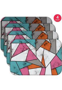 Jogo Americano Love Decor Wevans Marble Texture Color Kit Com 4 Pçs