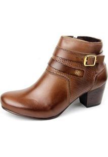Ankle Boot Couro Sapatofran Perlatto Fivela Feminina - Feminino