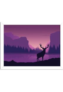Quadro Decorativo Cervo No Lago Branco - Grande