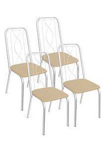 Kit 4 Cadeiras Viena Cromada Kappesberg 4C072 Nude