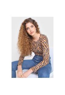 Blusa Malwee Zebra Bege/Marrom