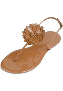 Rasteira Mercedita Shoes Verniz Flor Feminina - Feminino-Caramelo