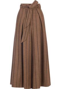 Dolce & Gabbana Calça Pantalona Risca De Giz - Marrom