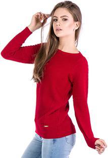 56fdf3b954 ... Blusa Tricot Carlan Nervura Decote Redondo Vermelho