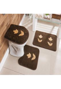 Jogo De Banheiro Bordado 3 Peças Antiderrapante Tulipa Café