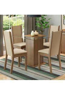 Conjunto Sala De Jantar Madesa Giulia Mesa Tampo De Vidro Com 4 Cadeiras