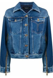 Versace Jaqueta Jeans Com Detalhe De Zíper - Azul
